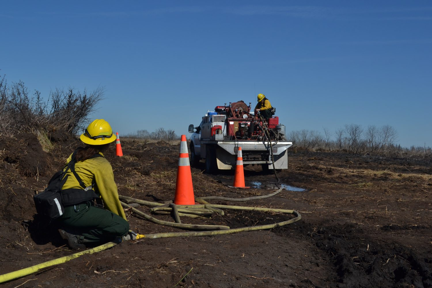 Forestry officials lay hoses through Paynes Prairie Boardwalk Fire (photo by Chris Gilmore)