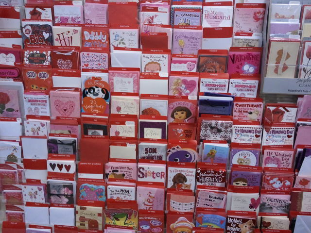 Display of Valentine's Day cards at CVS Pharmacy (photo by Chris Gilmore)