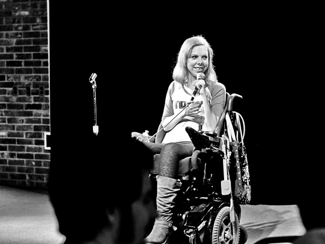 At the Orange and Brew on the UF campus, Meaghan practices her stand-up comedy routine before a performance.