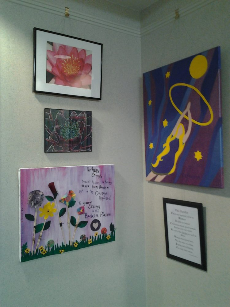 Artwork created by victims of sexual assault on display at 618 SE 24th Street in Gainesville