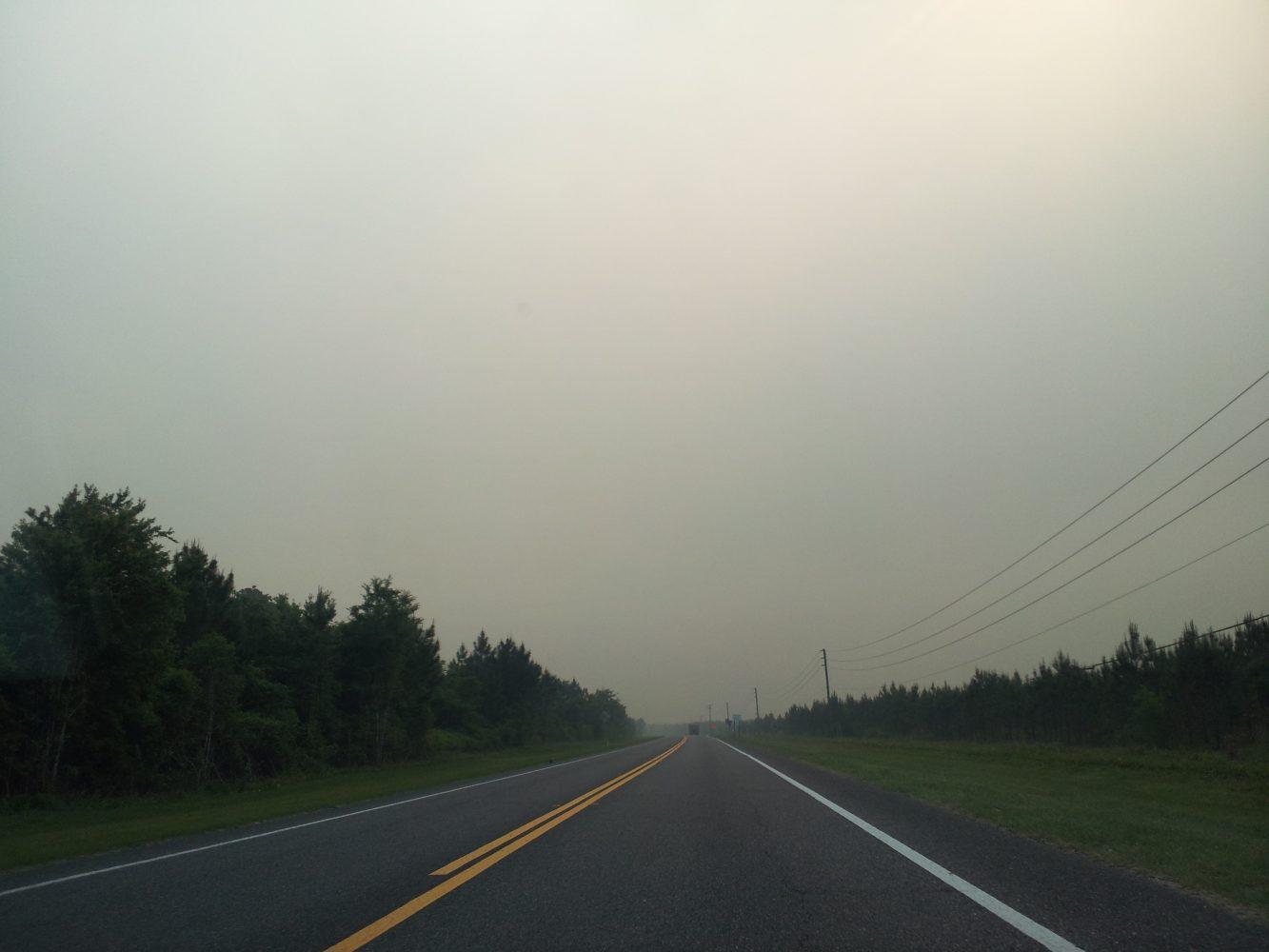 Smoke along roadways near the County Line fire