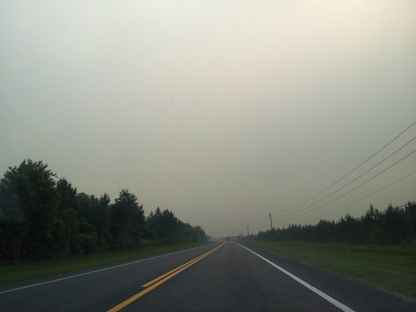 The roadways heading to the County Line fire are hazy