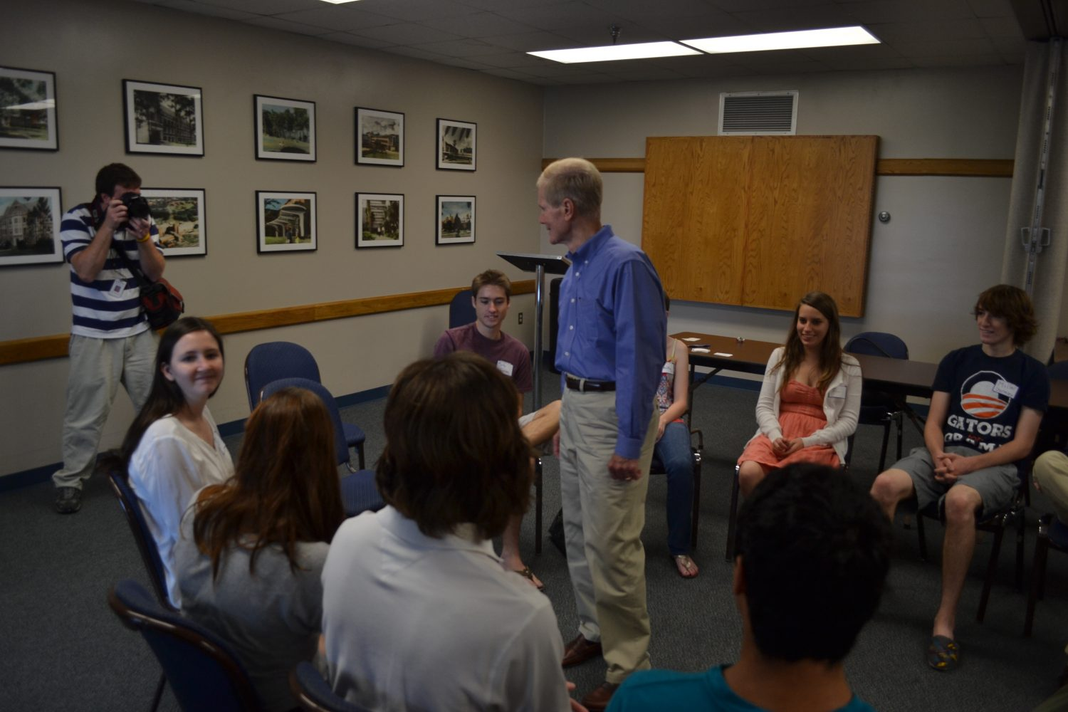 U.S. Senator Bill Nelson meets with University of Florida students on Monday.