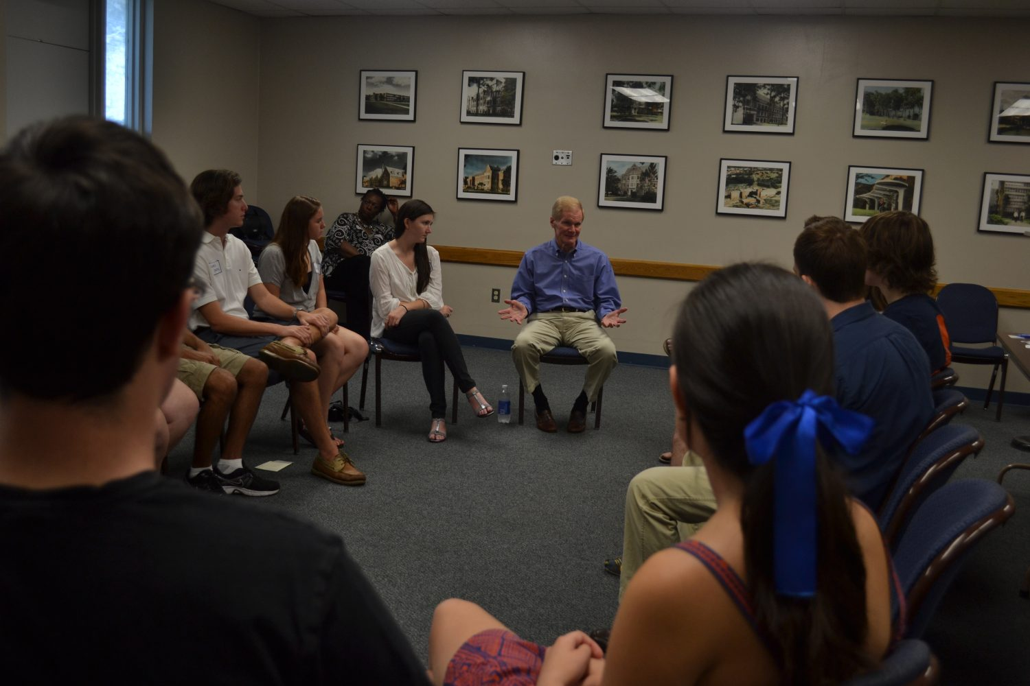 U.S. Senator Bill Nelson has a roundtable discussion with UF students on the rising cost of student loans.