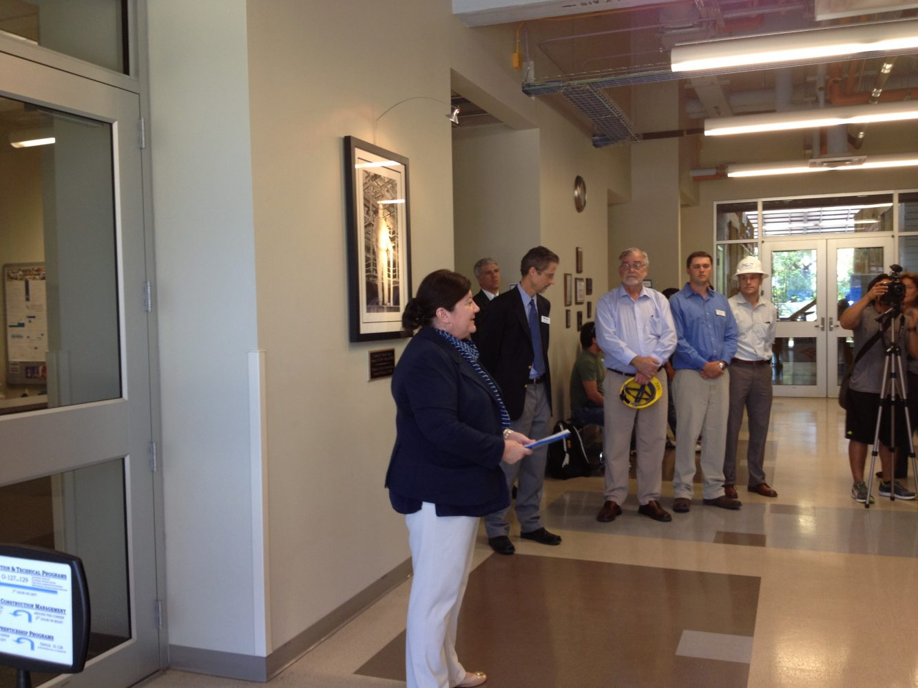 Director of Construction & Technical Programs at SFC, Jane Parkin gives tour of technology facilities to Chancellor for the FL Department of Education, Rod Duckworth.