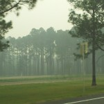 Smokey roadways approaching the County Line fire