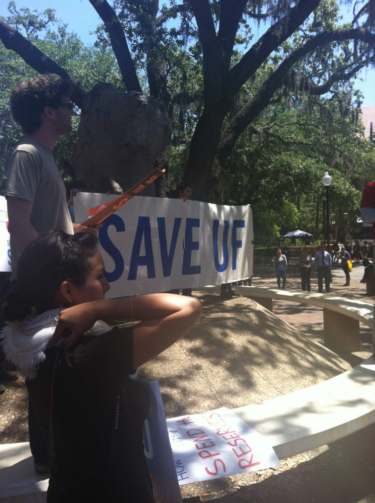 """Save UF and Spend The Reserves Campaign"" rally on the UF campus on Wednesday."