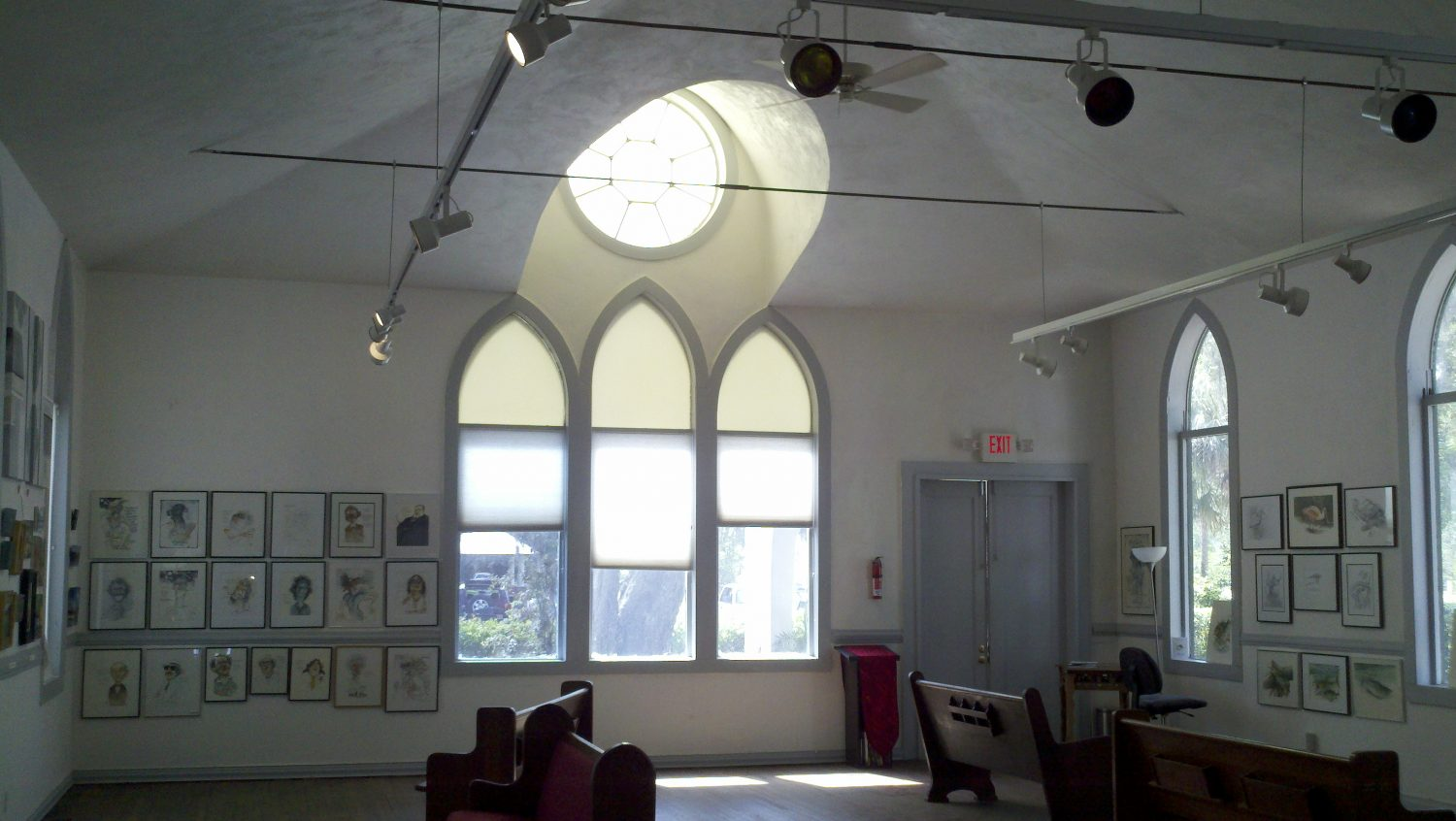 Front windows of the Shake Rag Art & Culture Center.