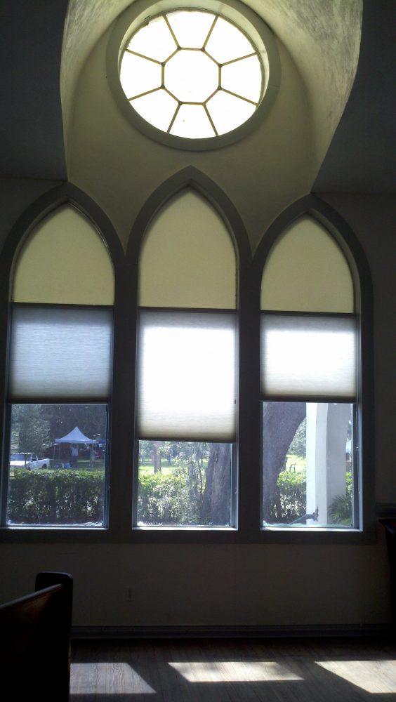 Front windows of Shake Rag Art & Culture Center in Melrose, FL.