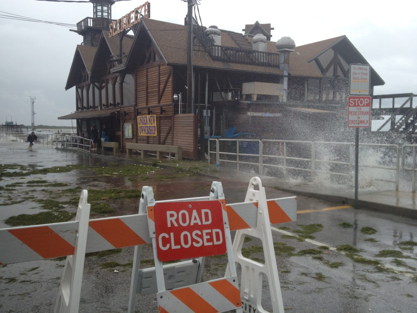 Road closures in Cedar Key Sunday afternoon with Tropical Storm Debby offshore