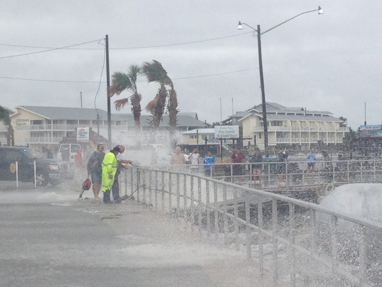Tropical storm force winds in Cedar Key on Sunday afternoon