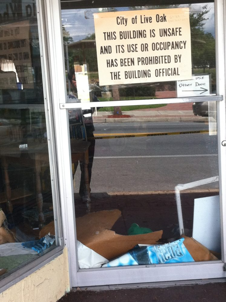 Business deemed unsafe in downtown Live Oak, FL