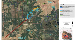 A map of the proposed path of the Archer Braid Trail from the Alachua County commission.