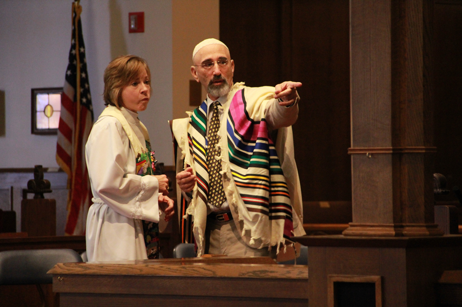 Rev. Louanne Loch and Rabbi David Shuman discuss the  Sept. 11, 2012, service at the Trinity Episcopal Church in Gainesville.