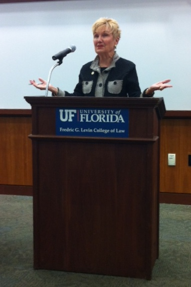Florida Senator Evelyn J. Lynn discusses the representation of gender in the 2012 presidential election at a panel discussion at the Levin College of Law Wednesday night.