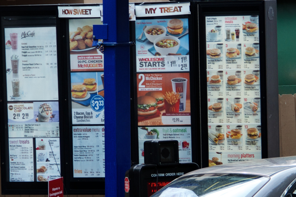 All McDonald's drive-thru's now also include calorie counts.