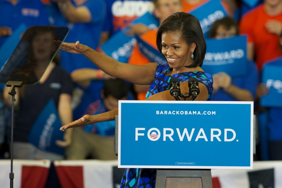 First Lady Michelle Obama Gator chomps during her speech at O'Connell Center Monday.