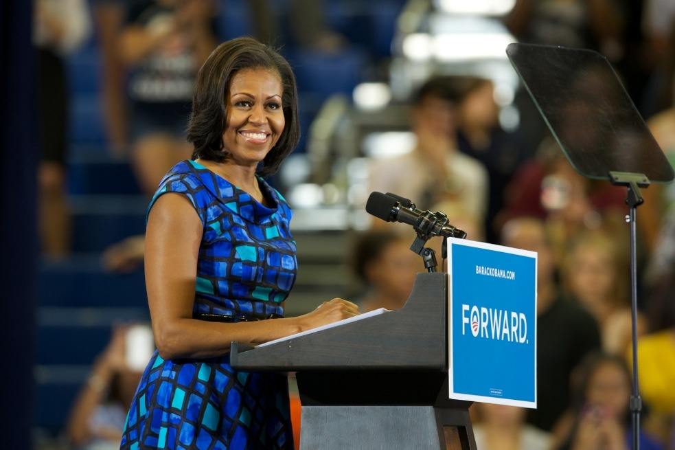 Michelle Obama speaks on Monday during a visit to the University of Florida.