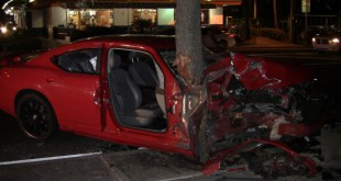Two injured when car hits tree