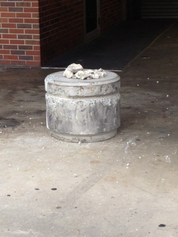 Debris from Ben Hill Griffin Stadium sit on the southeast side of the stadium, located around gate 15, where a portion of the stadium seemed to be crumbling Monday morning. Crane inspection is expected to take place later in the day.