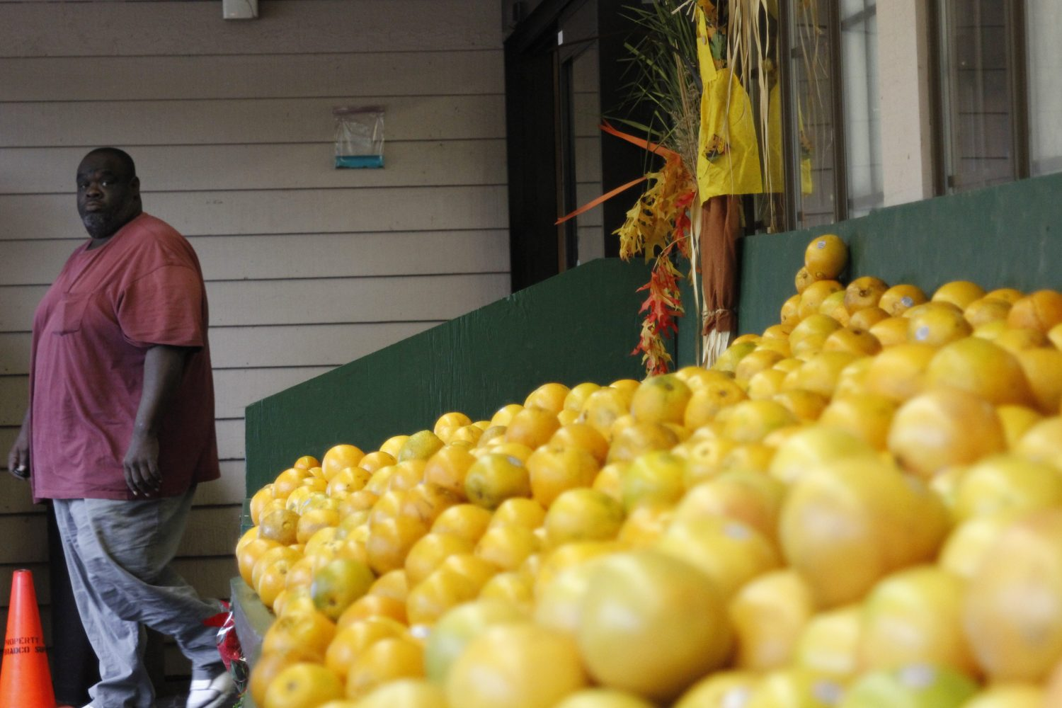 A Ward's patron takes a glance at some citrus as he leaves the store.