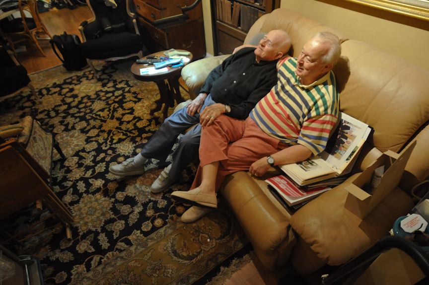 Blackwell, right, sits together with Wight watching evening television in their apartment in Oak Hammock retirement community.