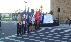 Color guard standing outside of the new Wal-Mart during opening ceremonies.