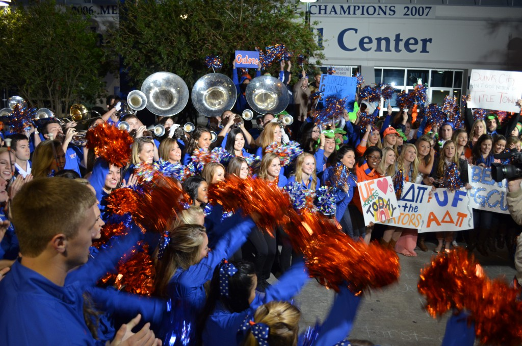"The crowd of students cheer while the pep band plays live on the ""Today"" show."