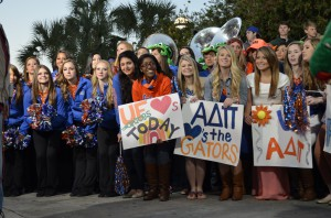 Students get ready for one of the two times they appeared on the Today show Friday.