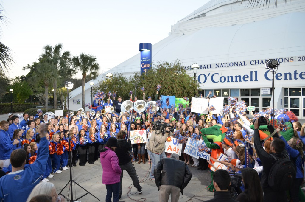 "The Gator pep band, Dazzlers, Gatorettes, cheerleaders and students gather outside the Stephen C. O'Connell Center to make an appearance on the ""Today"" show."