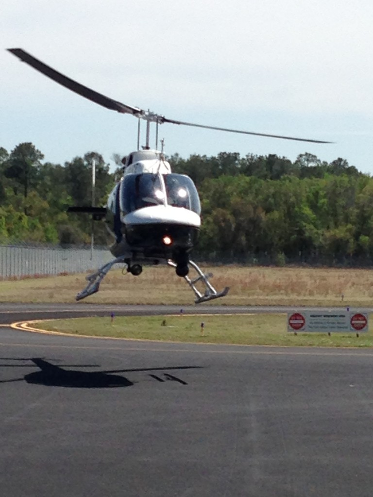 Officers gathered for a ceremonial takeoff Tuesday to make sure the helicopter was running smoothly and fit for flight.