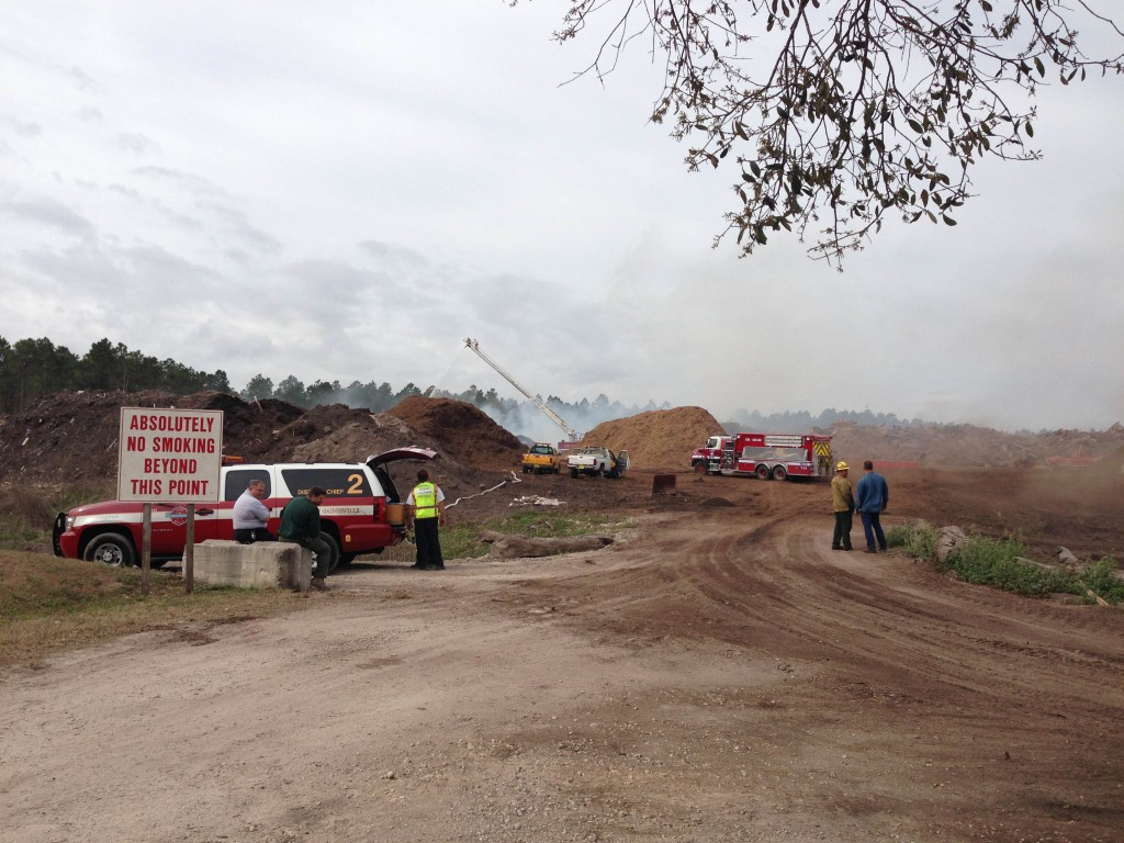 Gainesville Fire Rescue officials were on scene to monitor the fire at the Wood Resource Center in Gainesville.