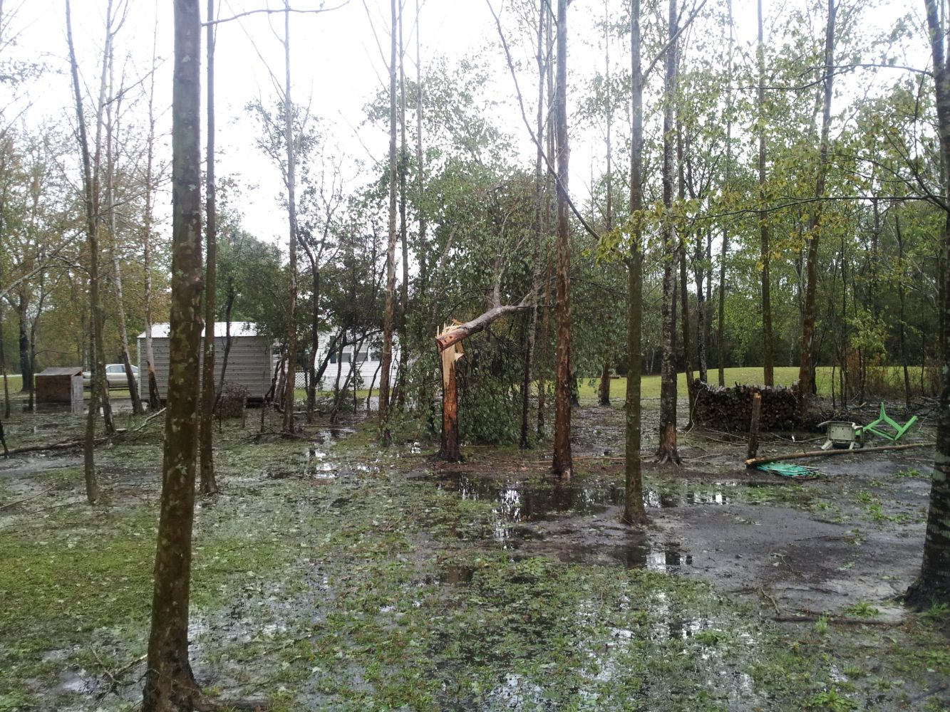 Flooding and broken trees remained in an area hit by strong winds. Courtesy: Bradford County Emergency Management