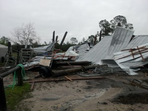 A pole barn near Lawtey was destroyed by the storm. Eight horses inside were able to escape unharmed.  Courtesy: Bradford County Emergency Management