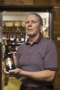 Bunky Mastin, of the Wine and Cheese Gallery displays a 2006 Steele Pinot Nior.