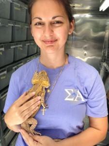 UF student Christina Pilla holds a bearded dragon.