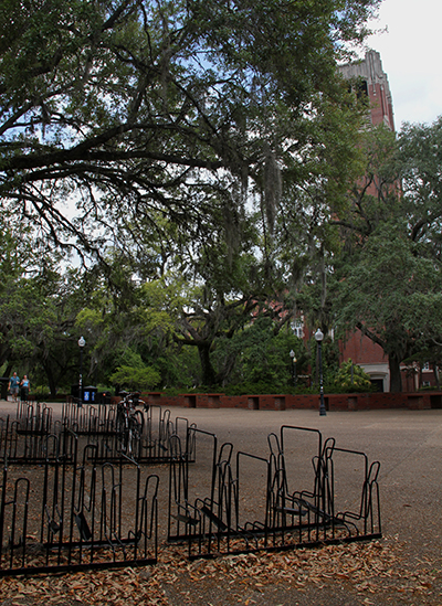 Turlington Plaza is virtually devoid of both students and bicycles the week following commencements and prior to summer classes. Still, opportunities abound for those remaining in Gainesville.