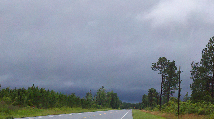 Skies were storm Thursday over much of North Central Florida, including this road in Lafayette County.