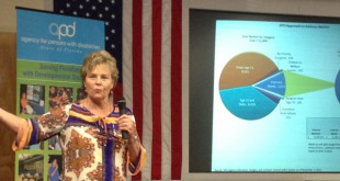 Barbara Palmer, director of the Agency for Persons with Disabilities, speaks Thursday at the Department of Transportation in Gainesville.