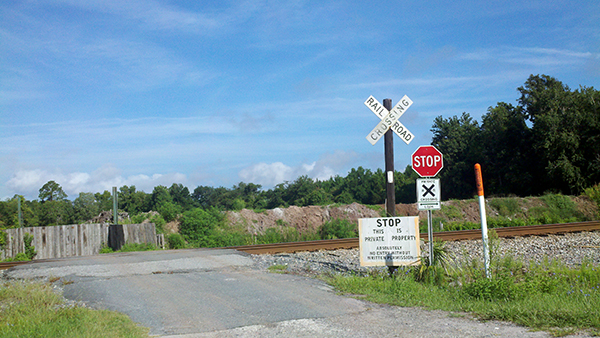 The train crossing where Beckles' FedEx truck was struck by a CSX train on Wednesday, July 3.