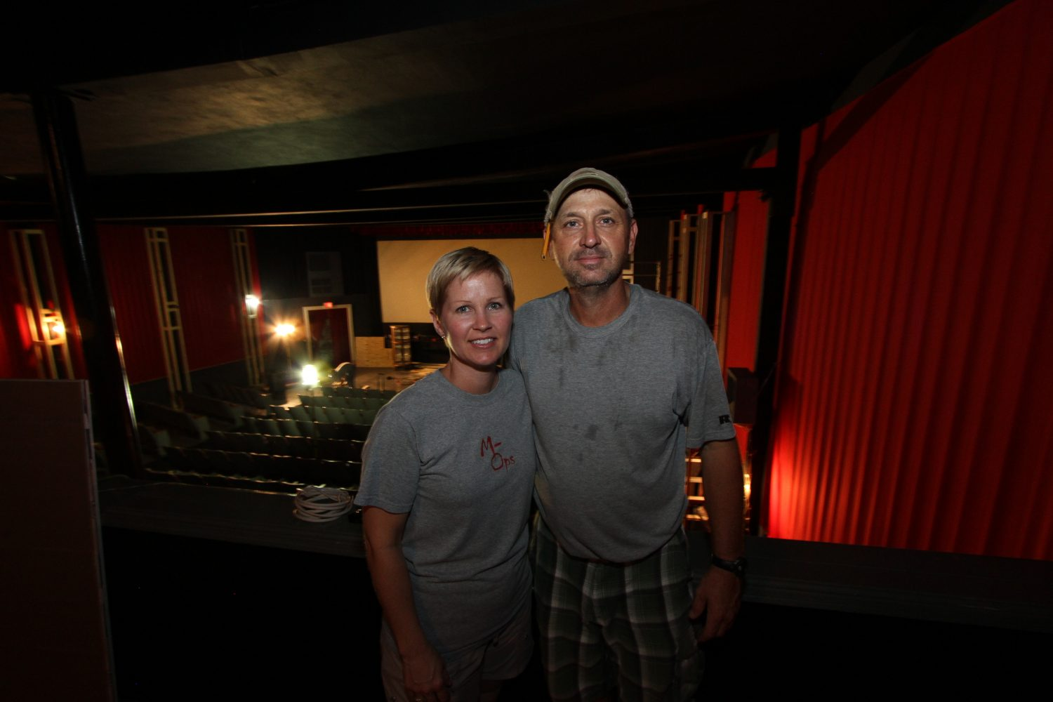 Co-owners Janet and Alan Alligood, after a day of working on the Priest Theatre's renovations.