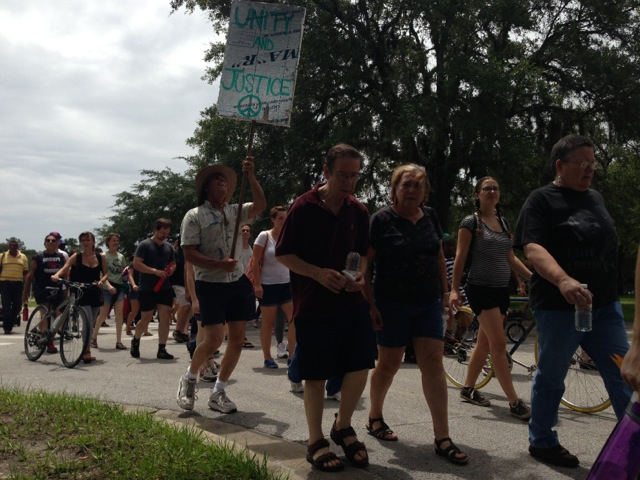 """Protestors marched at the MLK Center Saturday in Gainesville in tandem with the UF Dream Defenders in a continued attempt to bring attention to the death of Trayvon Martin and a repeal of Florida's """"stand your ground"""" law."""