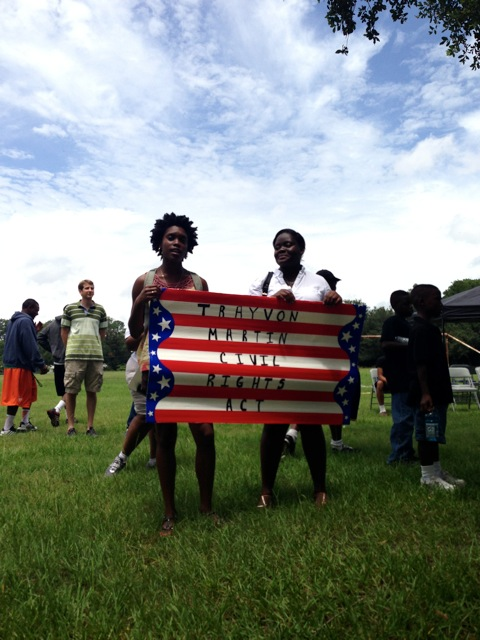 UF students Tonika Jones and Tahiri Jean-Baptiste attended the Dream Defenders rally Saturday in Gainesville.