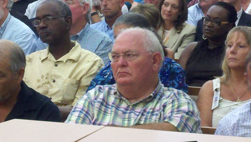 Florida State Sen. Bill Montford 3rd District listens at the senate field hearing in Apalachicola Tuesday.