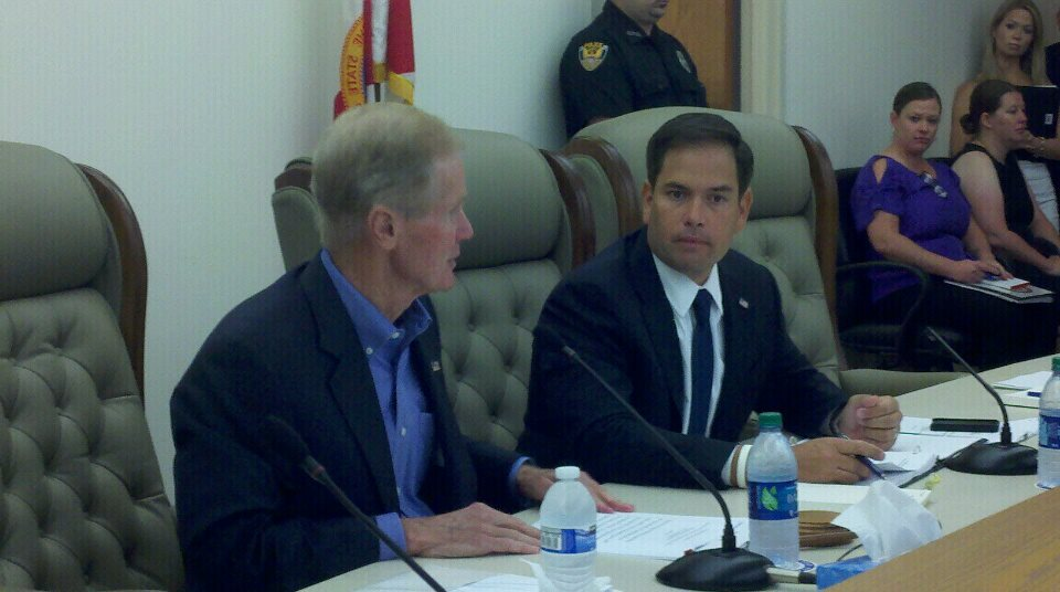 Senators Bill Nelson (left) and Marco Rubio lead the field hearing in Apalachicola over a tri-state water war issue and oyster collapse blamed on the 2012 drought and Georgia's lack of conservation.