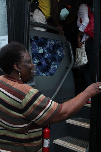 Sally Williams is one of 67 people to board the bus.