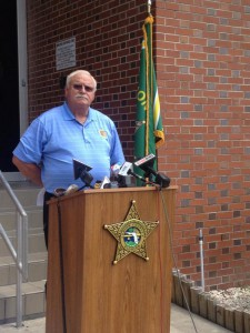 Jerry Whitehead, Union County sheriff, answers questions at a press conference Monday in Lake Butler.