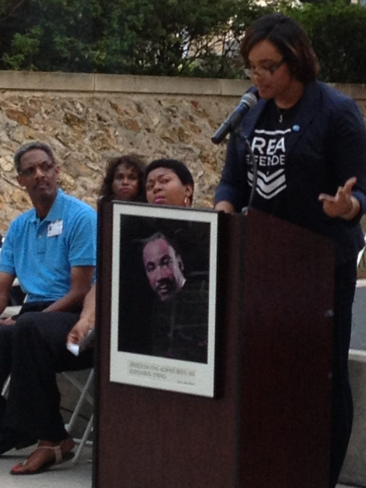 A picture of Dr. King adorned the podium as speakers like Nailah Summers addressed the audience about some of the same issues King spoke of in his famous speech on August 28, 1963.