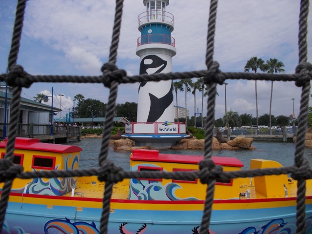"The main entrance to Sea World Orlando features a replica of a lighthouse with ""Shamu"" on it. Shamu is the stage name given to all of the company's killer whales."