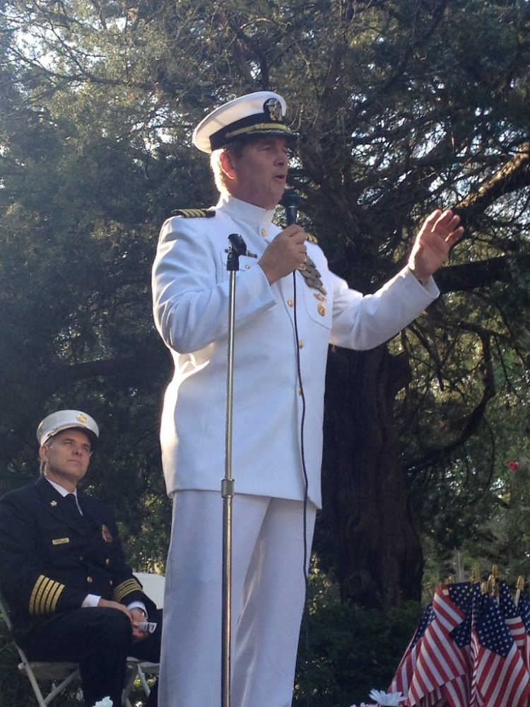 Bill Pokorny, a retired Navy captain, speaks about the need to volunteer in the community. Congress declared Sept. 11 a National Day of Service and Remembrance, beginning a tradition that continues today.